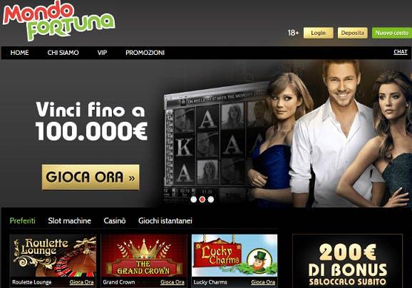 Mondofortuna casino homepage