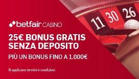 Betfair nuovo bonus di benvenuto: 25€ senza deposito+bonus fino a 1000€