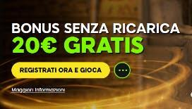 Con il bonus senza deposito 888 casino, 20€ gratis tutti per voi
