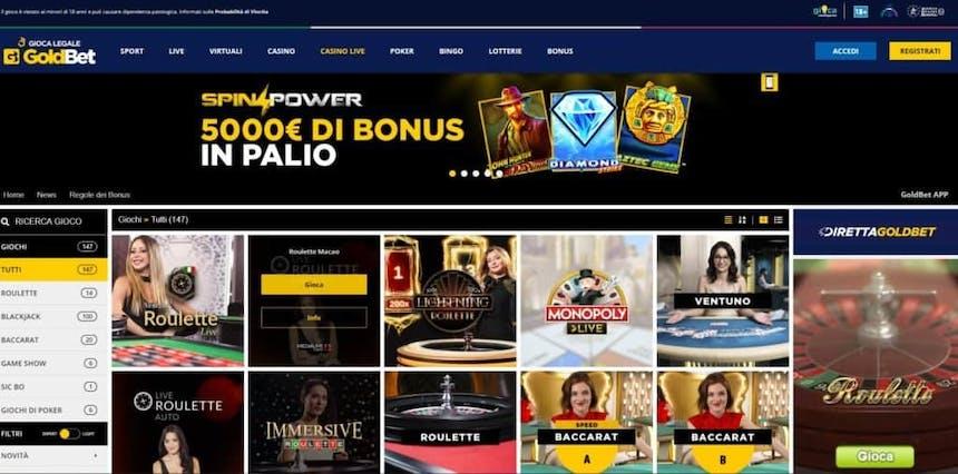 L'innovativo casino di Goldbet offre numerosi tavoli verdi virtuali in tempo reale