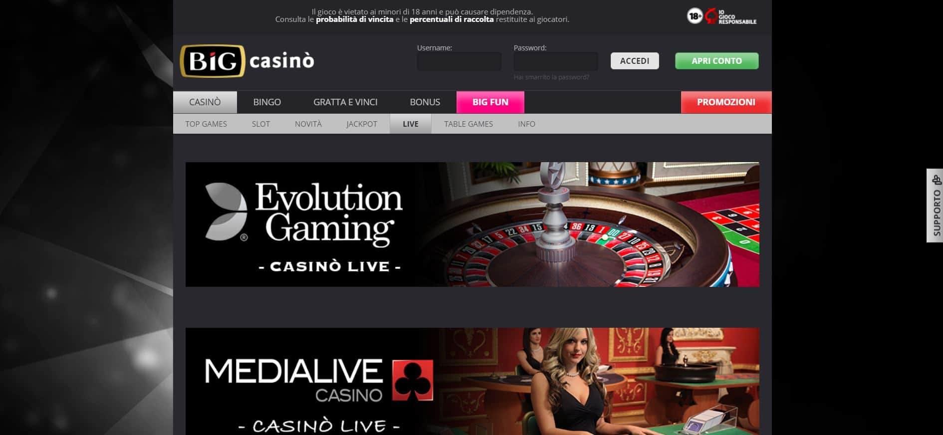 Il casino dal vivo diBIG Casinopresenta diversi tavoli virtuali