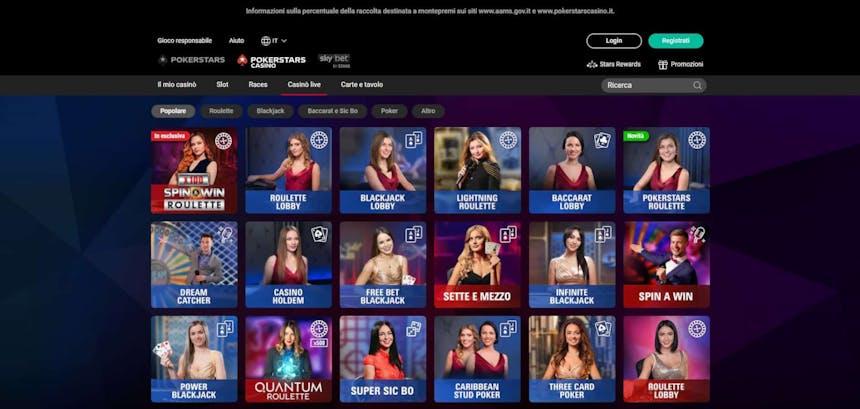 L'innovativo casino di PokerStars offre numerosi tavoli verdi virtuali in tempo reale