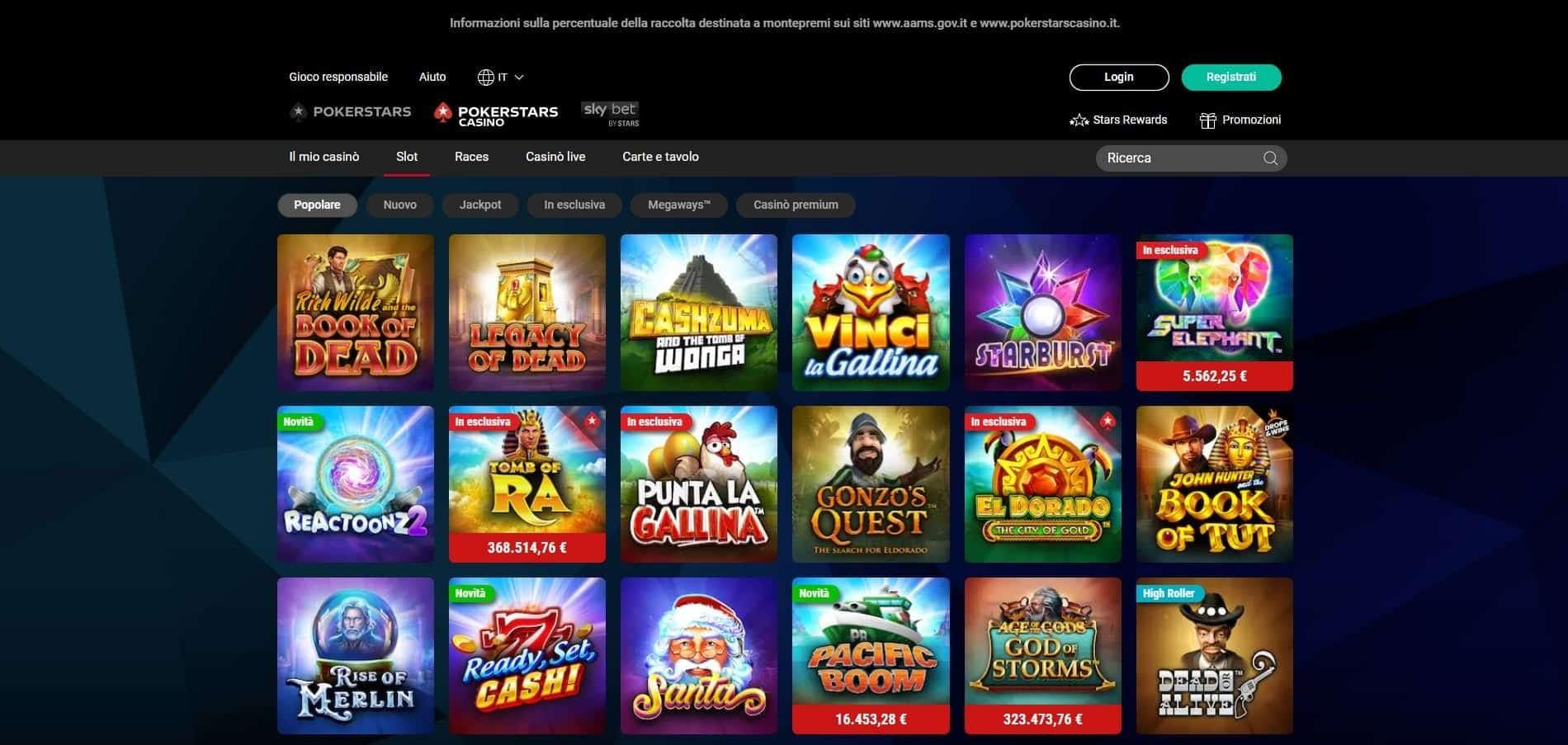 Slot online con PokerStars