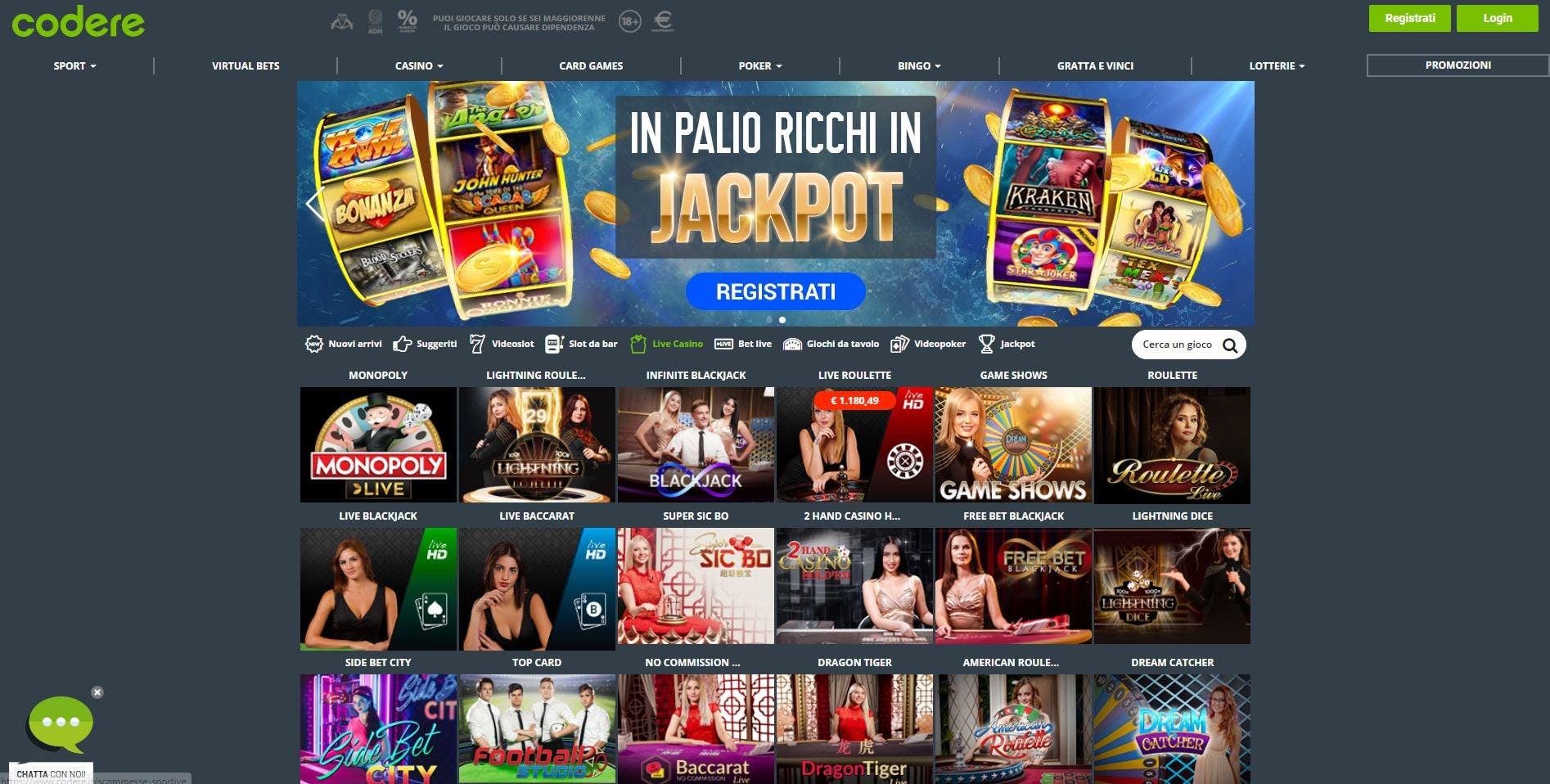 L'innovativo casino di Codere offre numerosi tavoli verdi virtuali in tempo reale