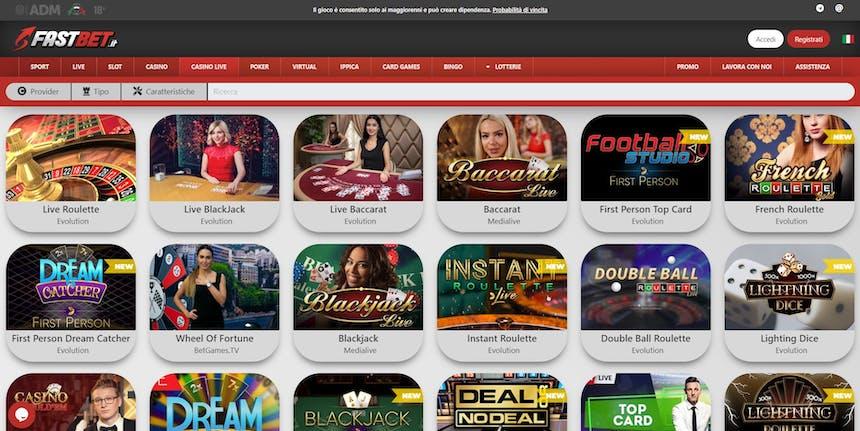 L'innovativo casino di Fastbet offre numerosi tavoli verdi virtuali in tempo reale